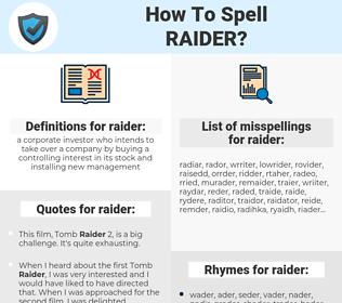raider, spellcheck raider, how to spell raider, how do you spell raider, correct spelling for raider