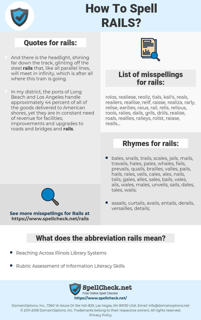 rails, spellcheck rails, how to spell rails, how do you spell rails, correct spelling for rails
