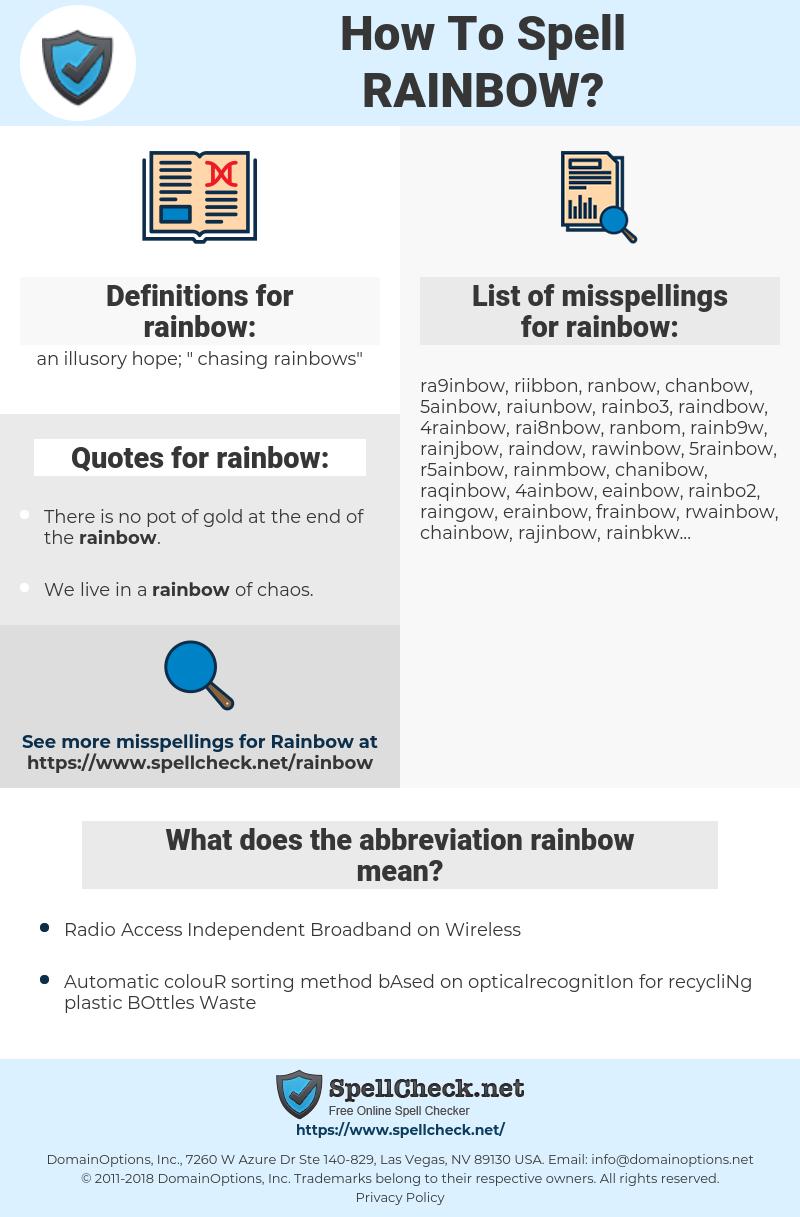 rainbow, spellcheck rainbow, how to spell rainbow, how do you spell rainbow, correct spelling for rainbow