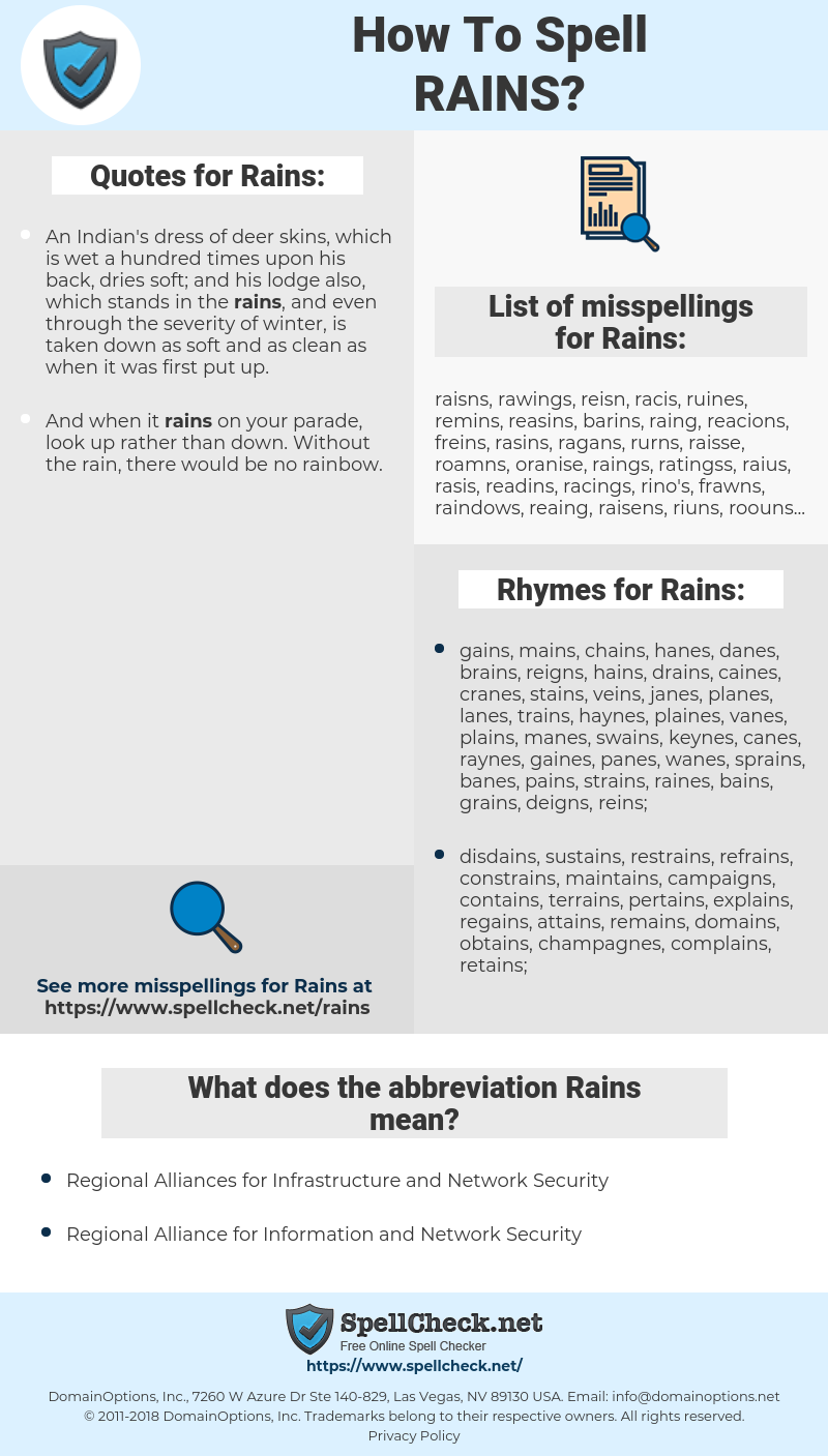Rains, spellcheck Rains, how to spell Rains, how do you spell Rains, correct spelling for Rains