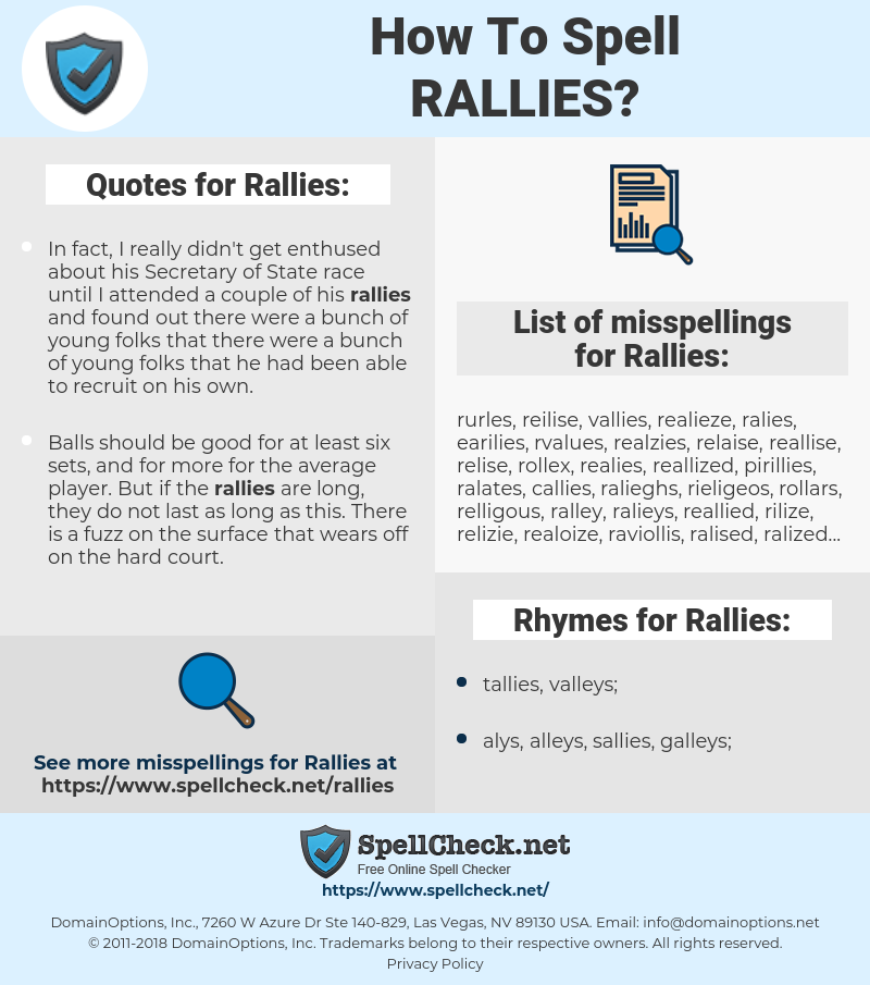 Rallies, spellcheck Rallies, how to spell Rallies, how do you spell Rallies, correct spelling for Rallies