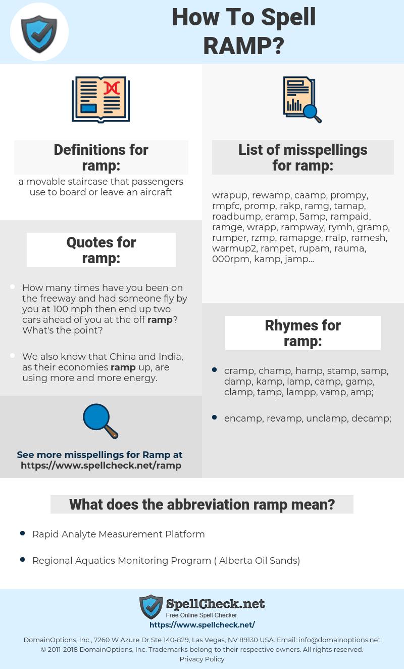 ramp, spellcheck ramp, how to spell ramp, how do you spell ramp, correct spelling for ramp