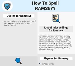 Ramsey, spellcheck Ramsey, how to spell Ramsey, how do you spell Ramsey, correct spelling for Ramsey