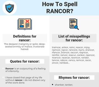 rancor, spellcheck rancor, how to spell rancor, how do you spell rancor, correct spelling for rancor