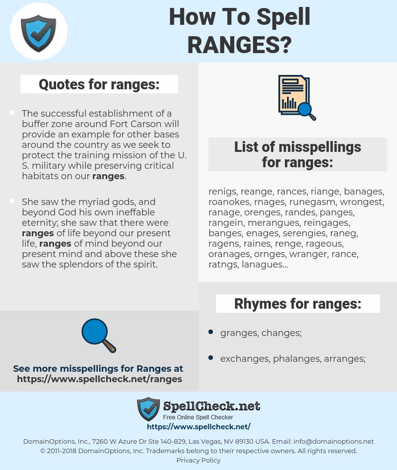 ranges, spellcheck ranges, how to spell ranges, how do you spell ranges, correct spelling for ranges