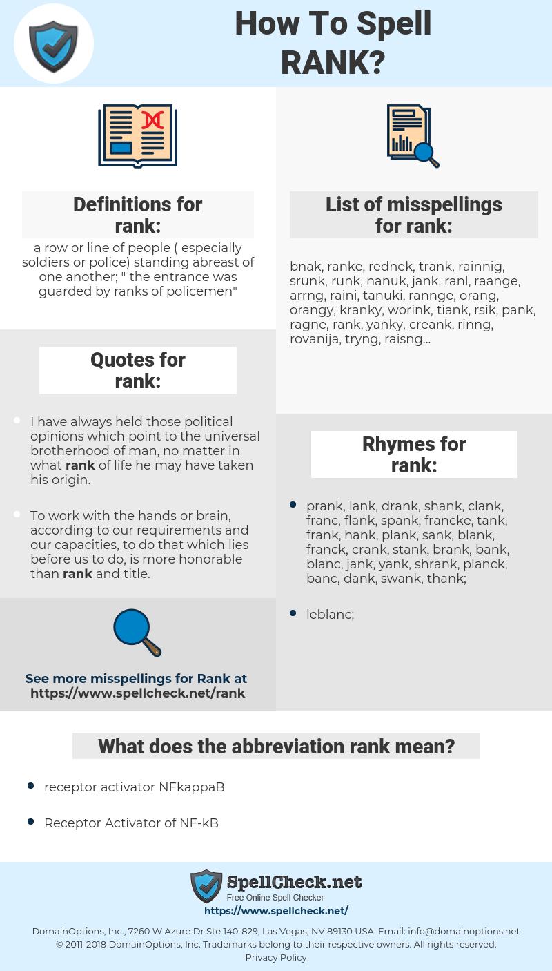 rank, spellcheck rank, how to spell rank, how do you spell rank, correct spelling for rank