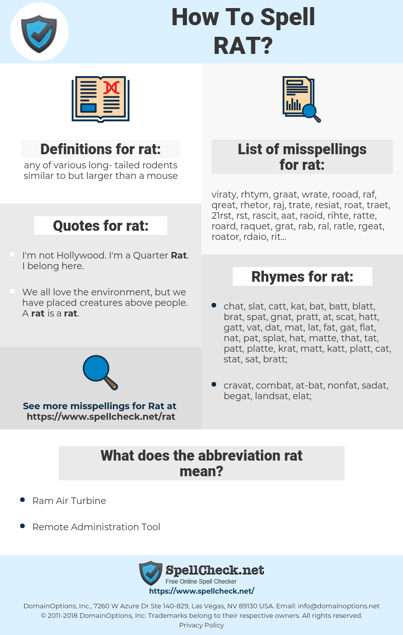 rat, spellcheck rat, how to spell rat, how do you spell rat, correct spelling for rat
