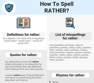 rather, spellcheck rather, how to spell rather, how do you spell rather, correct spelling for rather