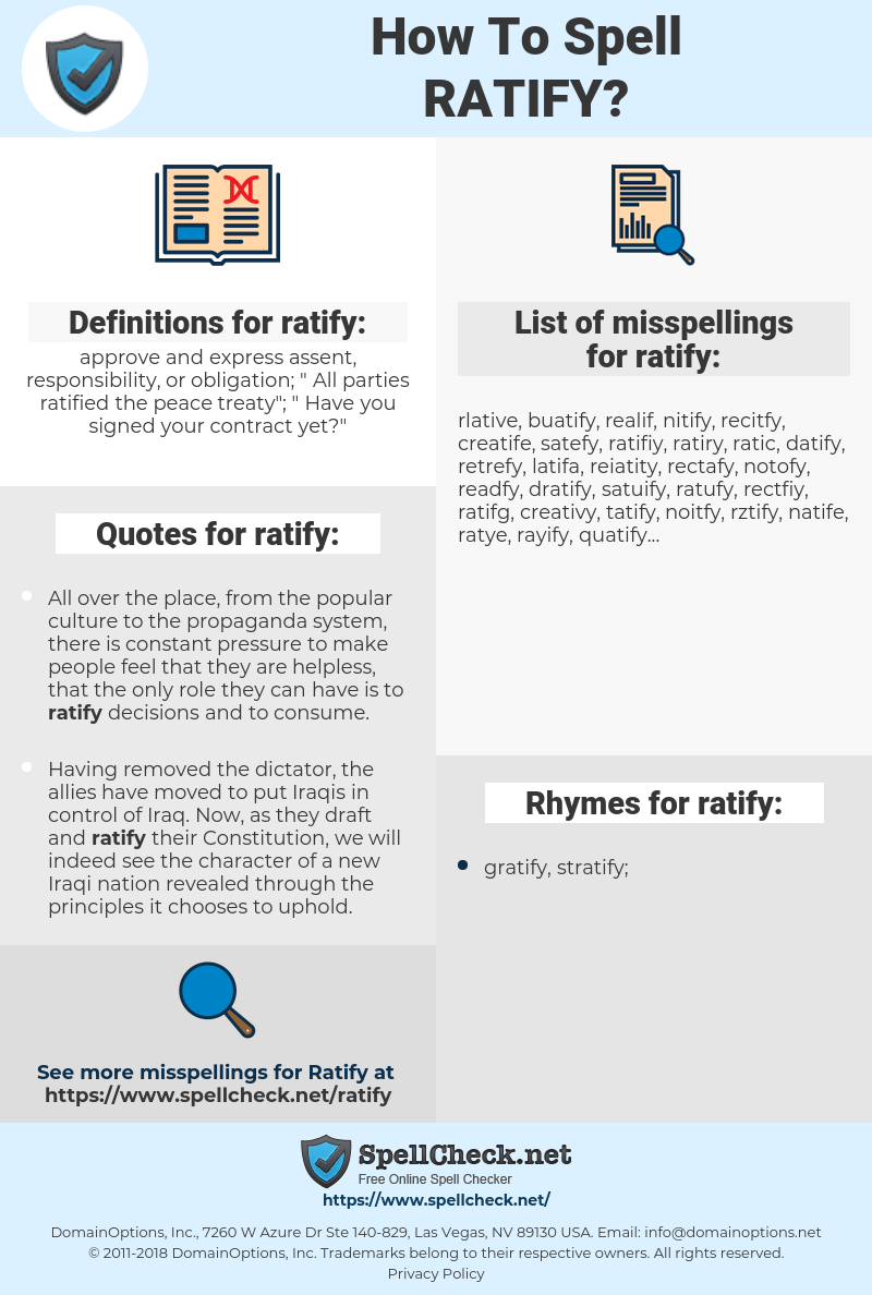 ratify, spellcheck ratify, how to spell ratify, how do you spell ratify, correct spelling for ratify