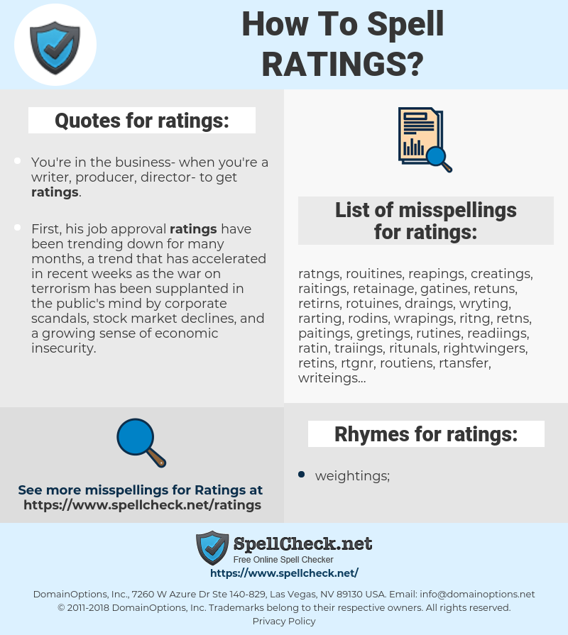 ratings, spellcheck ratings, how to spell ratings, how do you spell ratings, correct spelling for ratings