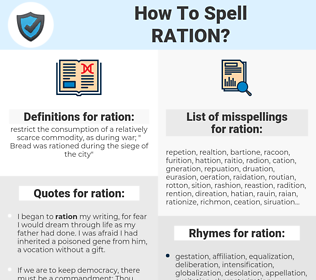 ration, spellcheck ration, how to spell ration, how do you spell ration, correct spelling for ration