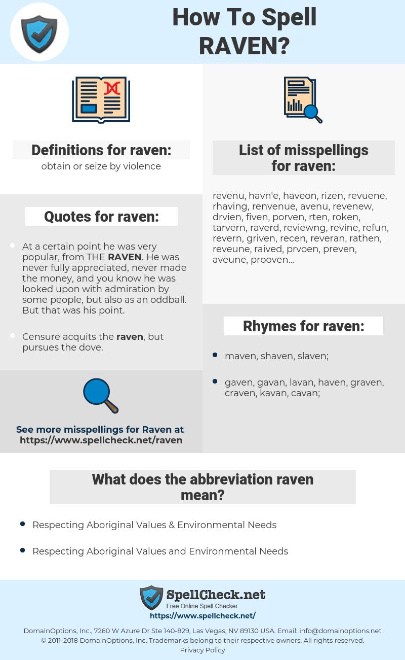 raven, spellcheck raven, how to spell raven, how do you spell raven, correct spelling for raven