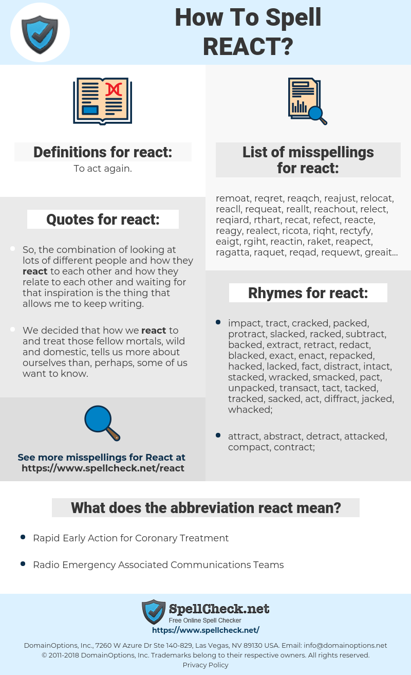 react, spellcheck react, how to spell react, how do you spell react, correct spelling for react