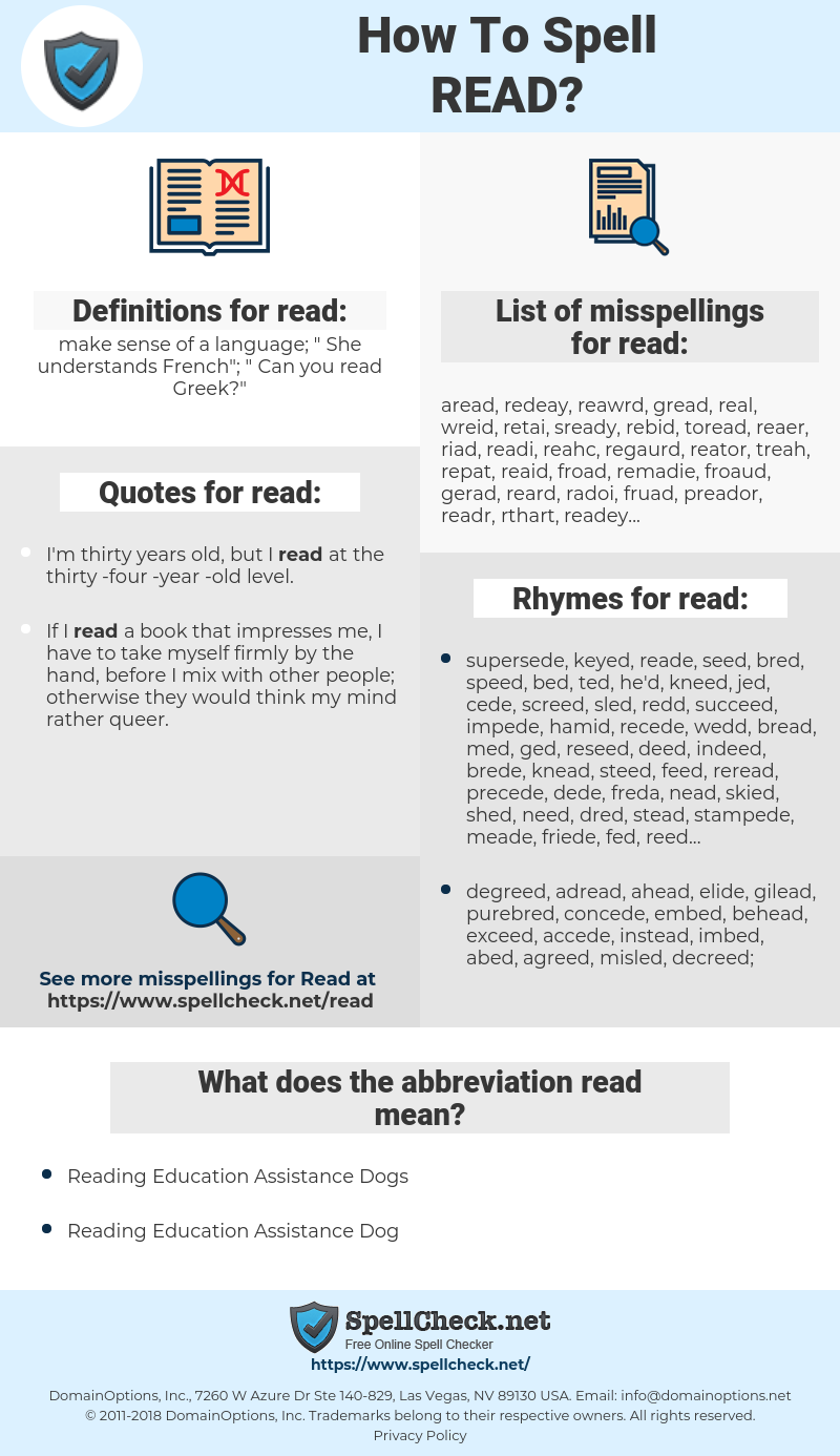 read, spellcheck read, how to spell read, how do you spell read, correct spelling for read