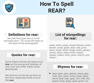 rear, spellcheck rear, how to spell rear, how do you spell rear, correct spelling for rear