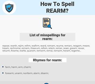 rearm, spellcheck rearm, how to spell rearm, how do you spell rearm, correct spelling for rearm