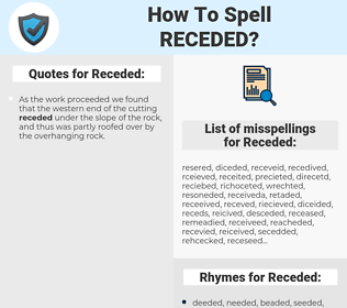 Receded, spellcheck Receded, how to spell Receded, how do you spell Receded, correct spelling for Receded