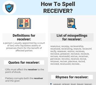 receiver, spellcheck receiver, how to spell receiver, how do you spell receiver, correct spelling for receiver