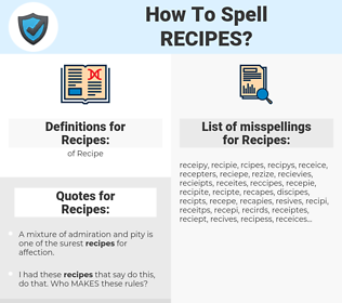 Recipes, spellcheck Recipes, how to spell Recipes, how do you spell Recipes, correct spelling for Recipes