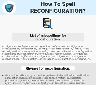 reconfiguration, spellcheck reconfiguration, how to spell reconfiguration, how do you spell reconfiguration, correct spelling for reconfiguration