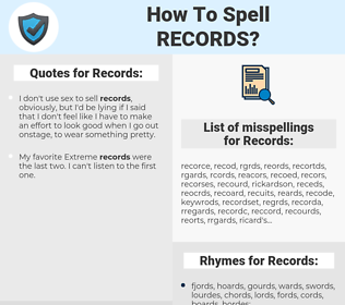 Records, spellcheck Records, how to spell Records, how do you spell Records, correct spelling for Records