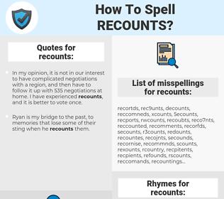recounts, spellcheck recounts, how to spell recounts, how do you spell recounts, correct spelling for recounts