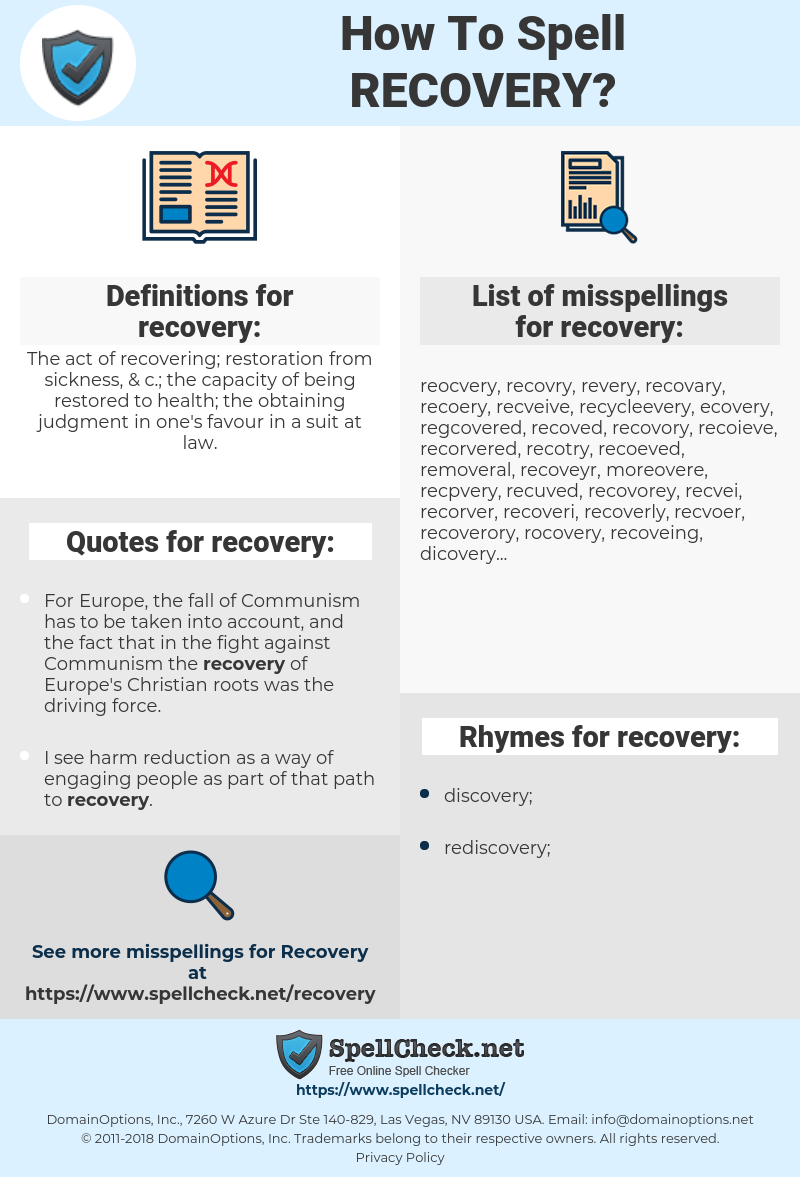 recovery, spellcheck recovery, how to spell recovery, how do you spell recovery, correct spelling for recovery