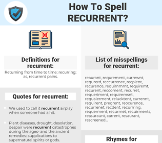 recurrent, spellcheck recurrent, how to spell recurrent, how do you spell recurrent, correct spelling for recurrent