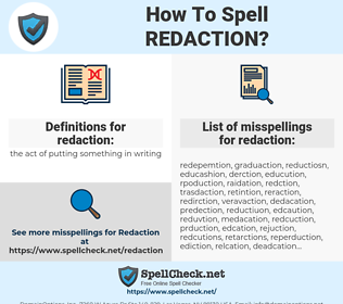redaction, spellcheck redaction, how to spell redaction, how do you spell redaction, correct spelling for redaction