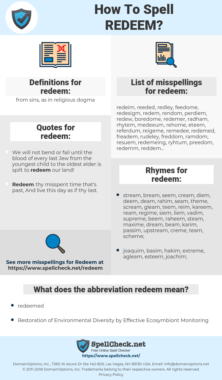 redeem, spellcheck redeem, how to spell redeem, how do you spell redeem, correct spelling for redeem