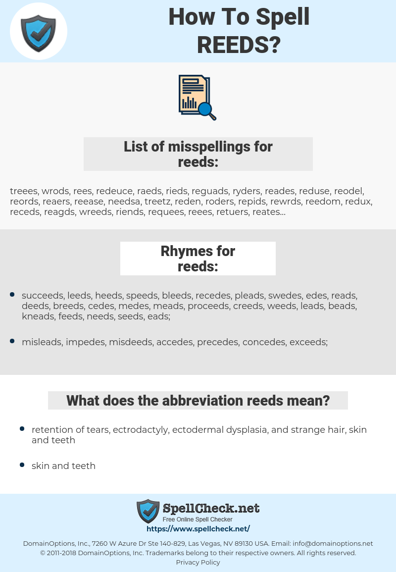 reeds, spellcheck reeds, how to spell reeds, how do you spell reeds, correct spelling for reeds