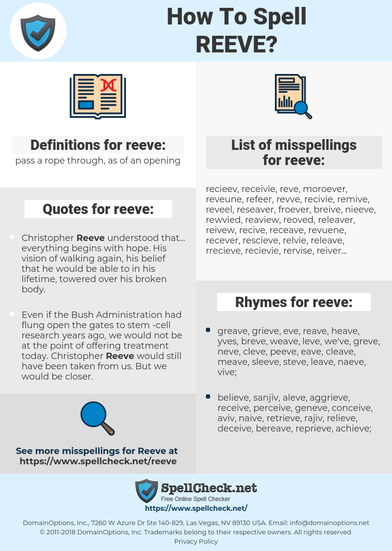 reeve, spellcheck reeve, how to spell reeve, how do you spell reeve, correct spelling for reeve