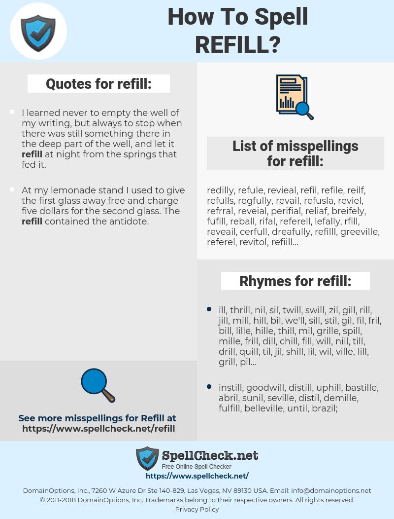 refill, spellcheck refill, how to spell refill, how do you spell refill, correct spelling for refill