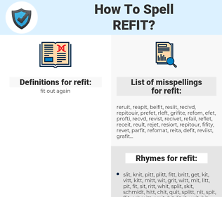 refit, spellcheck refit, how to spell refit, how do you spell refit, correct spelling for refit