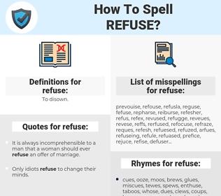 refuse, spellcheck refuse, how to spell refuse, how do you spell refuse, correct spelling for refuse