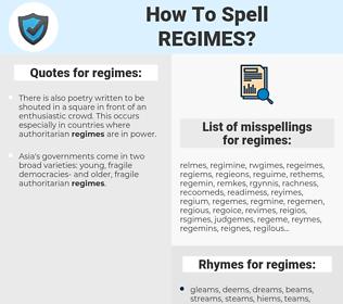 regimes, spellcheck regimes, how to spell regimes, how do you spell regimes, correct spelling for regimes