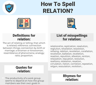 relation, spellcheck relation, how to spell relation, how do you spell relation, correct spelling for relation