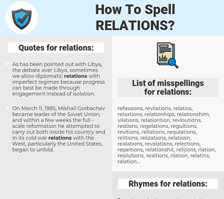 relations, spellcheck relations, how to spell relations, how do you spell relations, correct spelling for relations