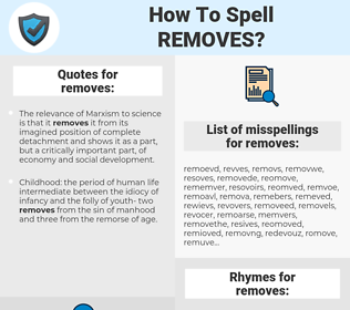 removes, spellcheck removes, how to spell removes, how do you spell removes, correct spelling for removes