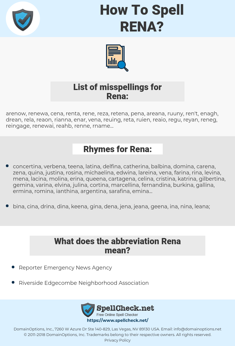 Rena, spellcheck Rena, how to spell Rena, how do you spell Rena, correct spelling for Rena