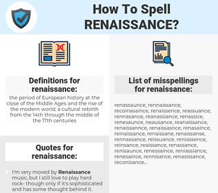 renaissance, spellcheck renaissance, how to spell renaissance, how do you spell renaissance, correct spelling for renaissance