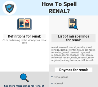 renal, spellcheck renal, how to spell renal, how do you spell renal, correct spelling for renal