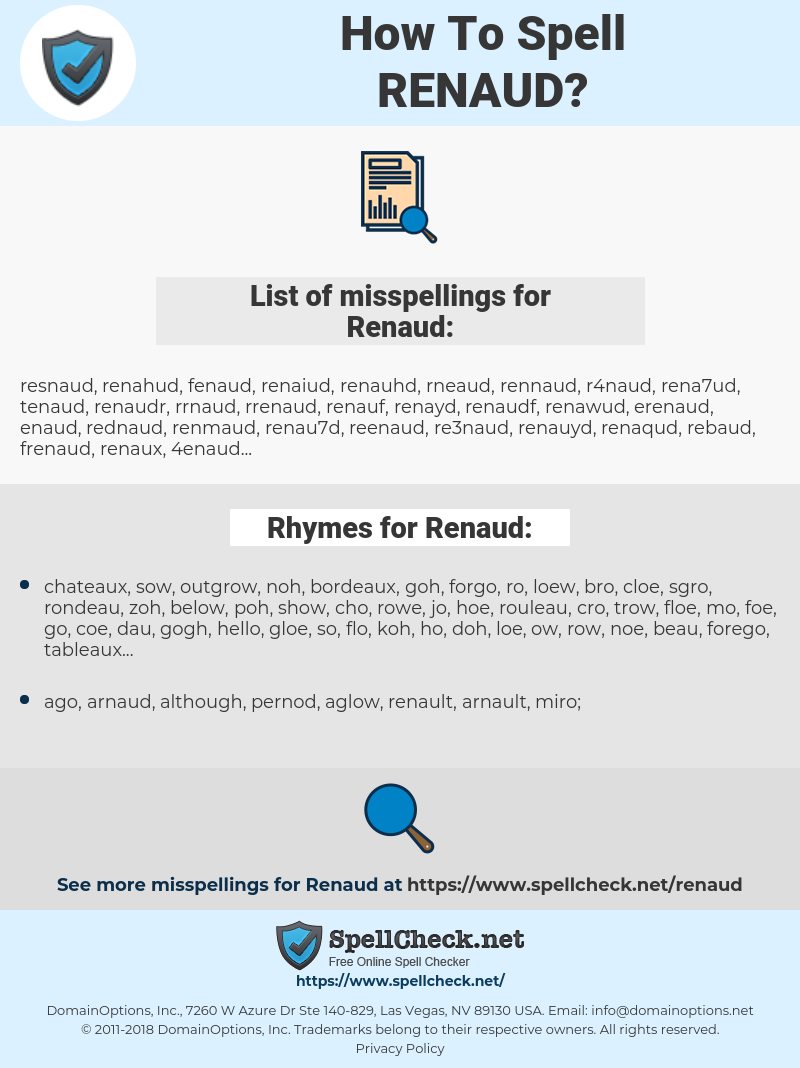 Renaud, spellcheck Renaud, how to spell Renaud, how do you spell Renaud, correct spelling for Renaud