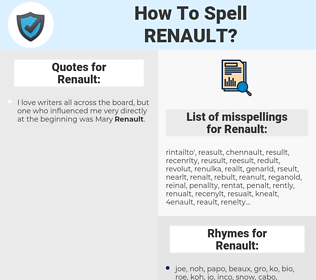 Renault, spellcheck Renault, how to spell Renault, how do you spell Renault, correct spelling for Renault