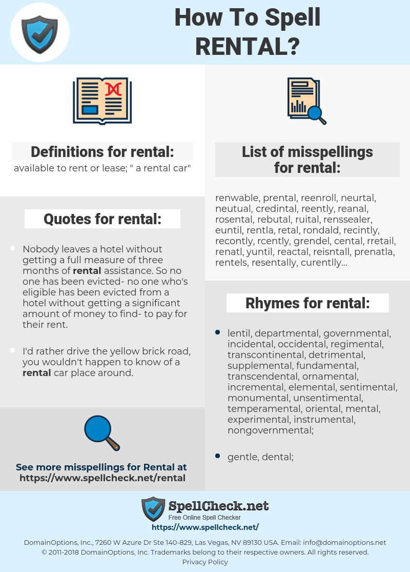 rental, spellcheck rental, how to spell rental, how do you spell rental, correct spelling for rental