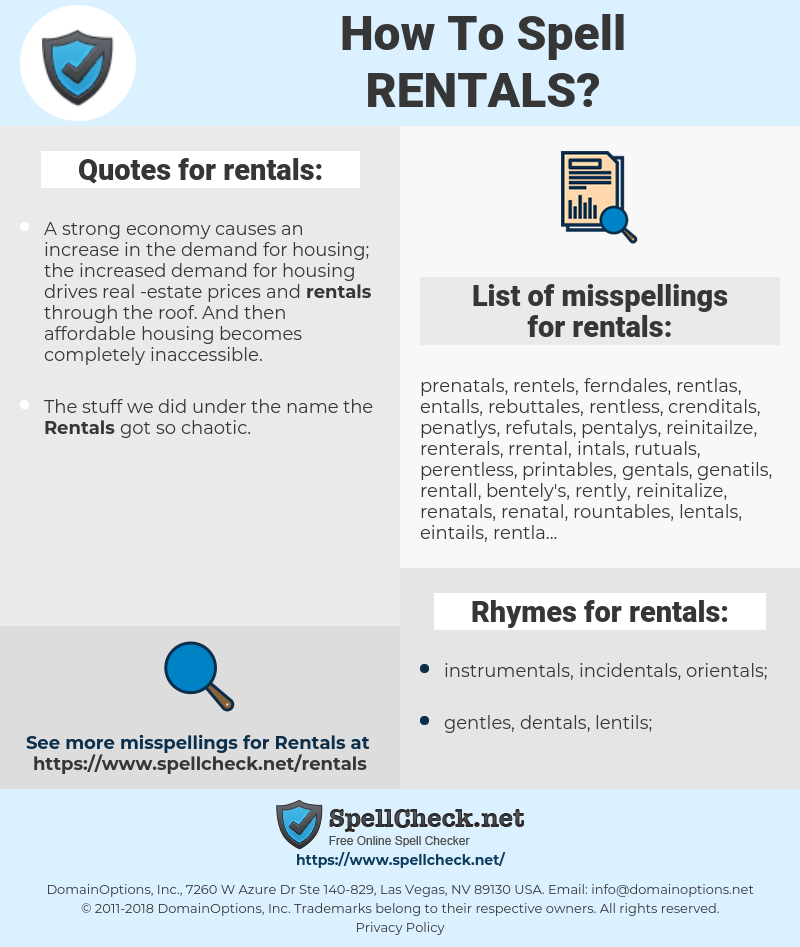 rentals, spellcheck rentals, how to spell rentals, how do you spell rentals, correct spelling for rentals