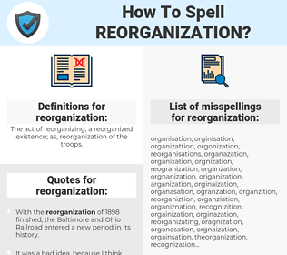 reorganization, spellcheck reorganization, how to spell reorganization, how do you spell reorganization, correct spelling for reorganization