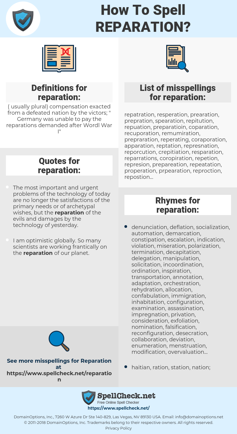 reparation, spellcheck reparation, how to spell reparation, how do you spell reparation, correct spelling for reparation