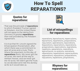 reparations, spellcheck reparations, how to spell reparations, how do you spell reparations, correct spelling for reparations
