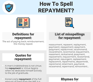 repayment, spellcheck repayment, how to spell repayment, how do you spell repayment, correct spelling for repayment